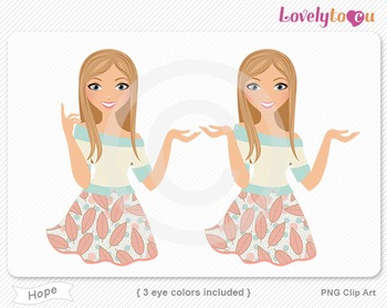 Woman character avatar 2 pack PNG clip art (Hope B18)