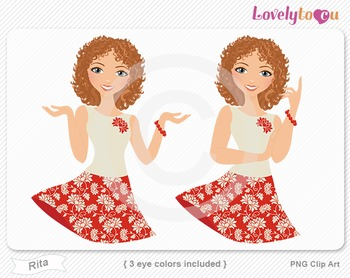 Woman character avatar 2 pack PNG clip art (Rita B23)