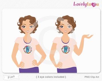 Woman character avatar 2 pack PNG clip art (Fran B44)