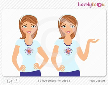 Woman character avatar 2 pack PNG clip art (Sophie B41)