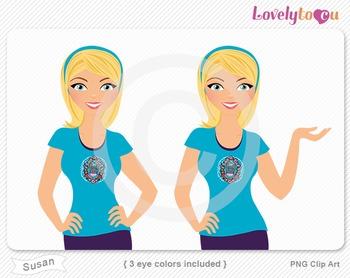 Woman character avatar 2 pack PNG clip art (Susan B41)