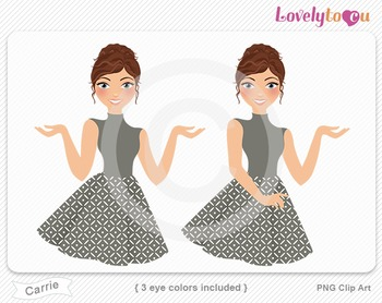 Woman character avatar pack PNG clip art (Carrie B14)