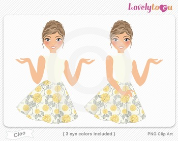 Woman character avatar pack PNG clip art (Cleo B14)