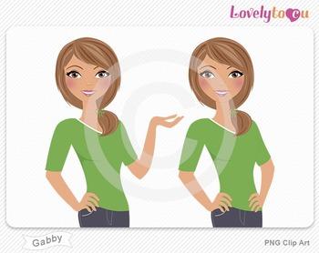 Woman character avatar pack PNG clip art (Gabby B10)