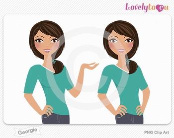 Woman character avatar pack PNG clip art (Georgie B10)