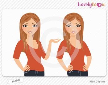 Woman character avatar pack PNG clip art (Heidi B09)