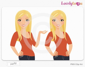 Woman character avatar pack PNG clip art (Holly B09)