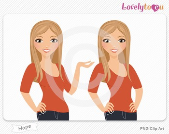 Woman character avatar pack PNG clip art (Hope B09)