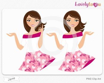Woman character avatar pack PNG clip art (Jane B17)