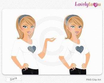 Woman character avatar pack PNG clip art (Sara B01)