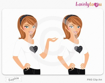 Woman character avatar pack PNG clip art (Sophie B01)