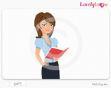 Woman character holding open book reading PNG clip art (Sa