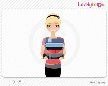 Woman character librarian holding stack of books PNG clip