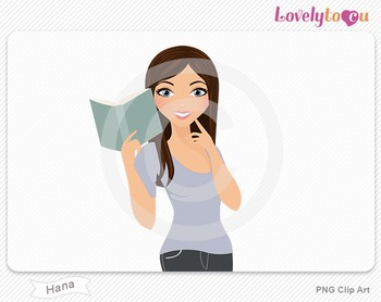 Woman character reading book PNG clip art (Hana 432)