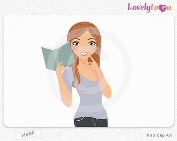 Woman character reading book PNG clip art (Heidi 432)