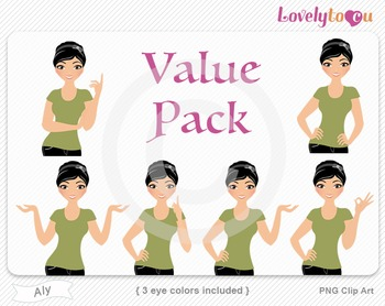 Woman character value pack PNG clip art (Aly VP02)