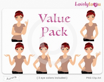 Woman character value pack PNG clip art (Aurora VP02)
