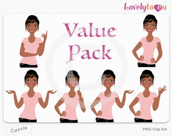 Woman character value pack PNG clip art (Cassie VP03)