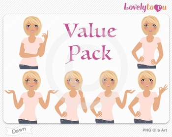 Woman character value pack PNG clip art (Dawn VP04)