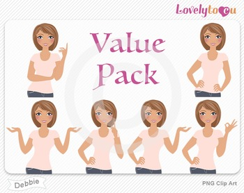 Woman character value pack PNG clip art (Debbie VP04)