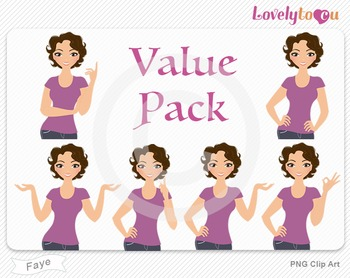 Woman character value pack PNG clip art (Faye VP07)