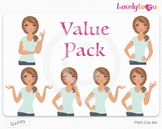 Woman character value pack PNG clip art (Gabby VP05)