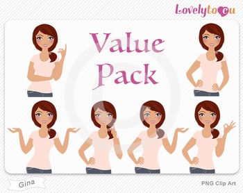 Woman character value pack PNG clip art (Gina VP05)