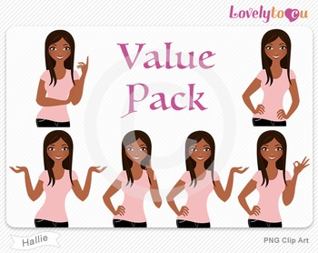 Woman character value pack PNG clip art (Hallie VP06)