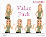 Woman character value pack PNG clip art (Hope VP06)