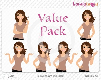 Woman character value pack PNG clip art (Jane VP09)