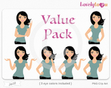 Woman character value pack PNG clip art (Jazz VP09)