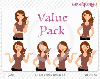 Woman character value pack PNG clip art (June VP09)