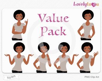 Woman character value pack PNG clip art (Nylah VP09)