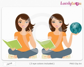 Woman character with book and globe PNG clip art (Jane 155)