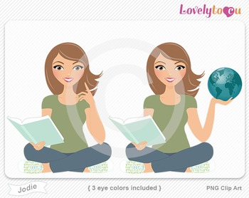 Woman character with book and globe PNG clip art (Jodie 155)