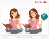 Woman character with book and globe PNG clip art (June 155)