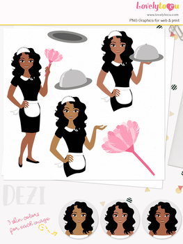 Woman cleaner character clipart, cleaning girl avatar clip art (Dezi L186)
