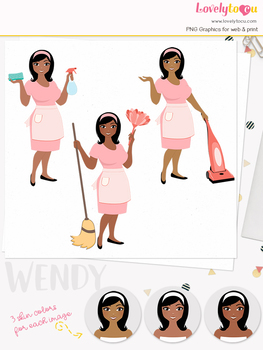 Woman cleaner character clipart, cleaning girl avatar clip art (Wendy L184)