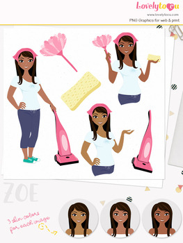 Woman cleaner character clipart, cleaning girl avatar clip art (Zoe L188)