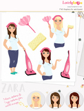 Woman cleaner character clipart, cleaning girl clip art (Zara L187)