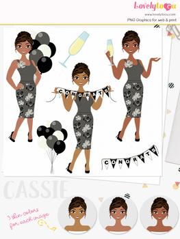 Woman congrats character clipart, celebration girl avatar clip art (Cassie L274)