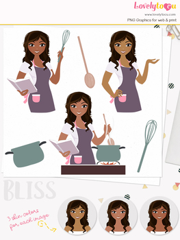Woman cook character clipart, stovetop girl avatar clip art (Bliss L182)