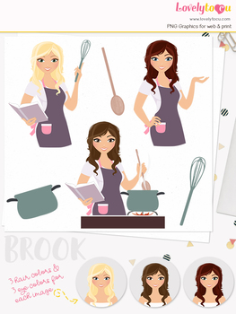 Woman cook character clipart, stovetop girl clip art (Brook L181)