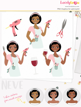 Woman crafter character clipart, crafts girl avatar clip art (Neve L166)
