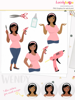 Woman crafter character clipart, crafts girl avatar clip art (Wendy L158)