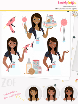 Woman crafter character clipart, crafts girl avatar clip art (Zoe L156)