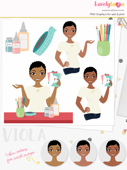 Woman crafter character clipart, greeting card girl avatar clip art (Viola L278)