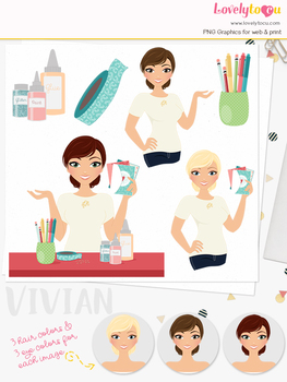 Woman crafter character clipart, greeting card girl clip art (Vivian L277)