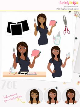 Woman crafter character clipart, scrapbooking girl avatar clip art (Zoe L160)
