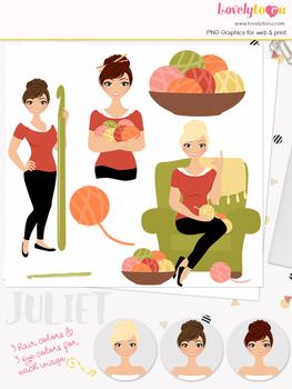 Woman crochet character clipart, crafts girl clip art (Juliet L161)